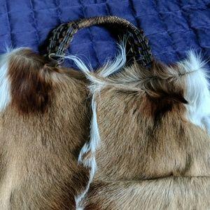 Cowhide satchel purse
